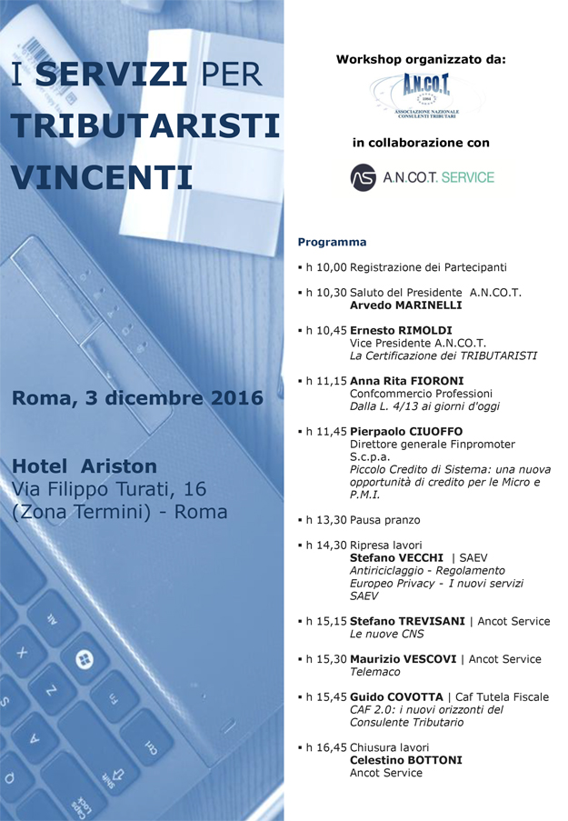 WORKSHOP - I SERVIZI PER TRIBUTARISTI VINCENTI